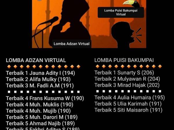 Lomba Azan virtual dan Puisi Bakumpai